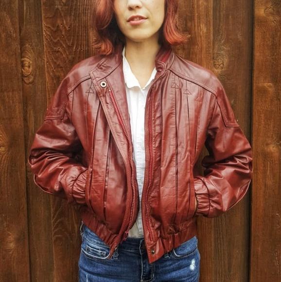 12de8d96a 80s Vintage Leather Bomber Jacket Burgandy⚘